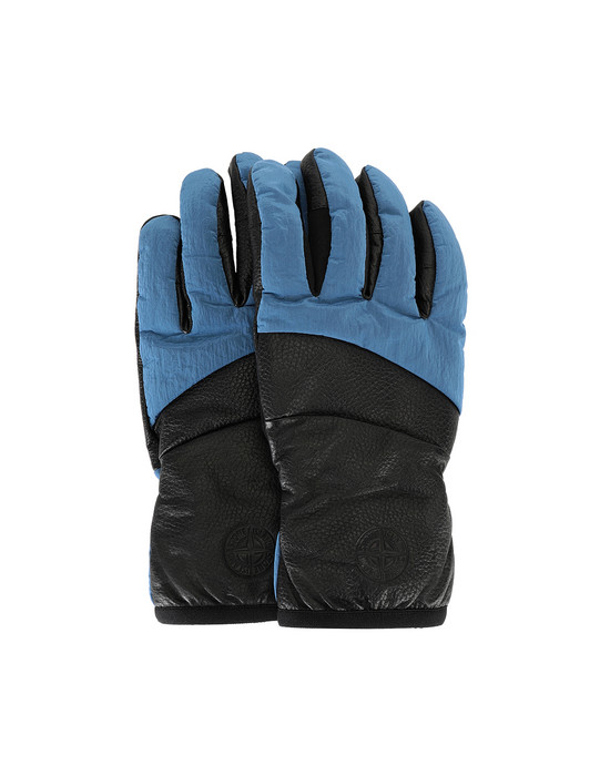 STONE ISLAND 92774 LEATHER/NYLON METAL Gloves Man Periwinkle