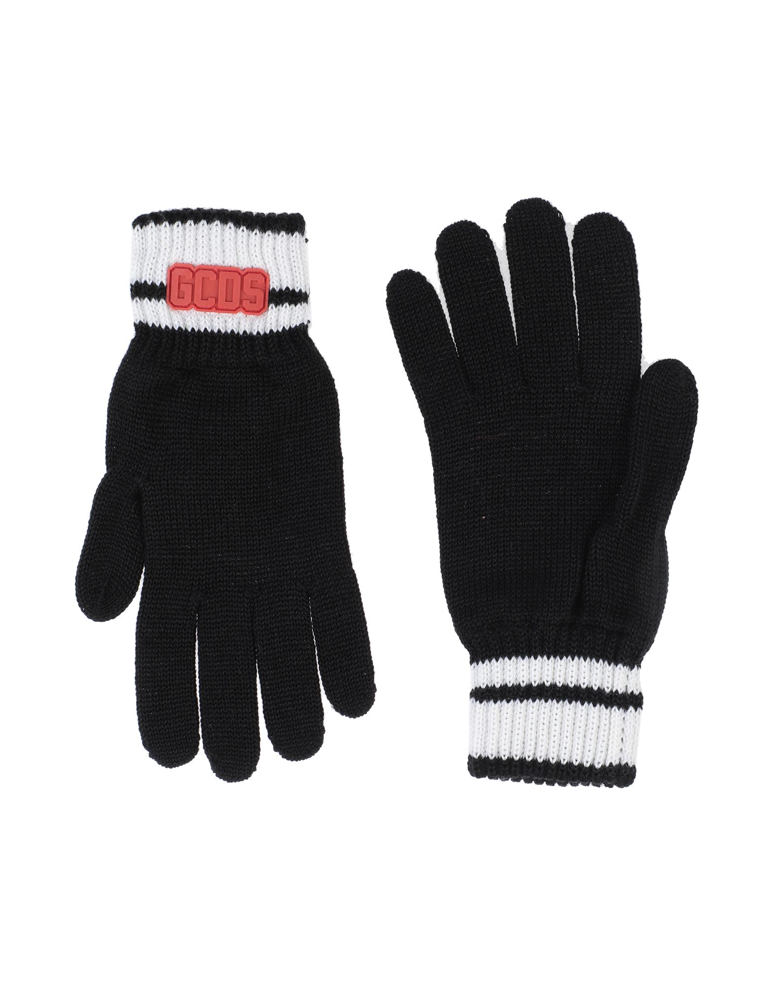 GCDS Gloves. knitted, logo, solid color, lightweight knit. 50% Wool, 50% Acrylic