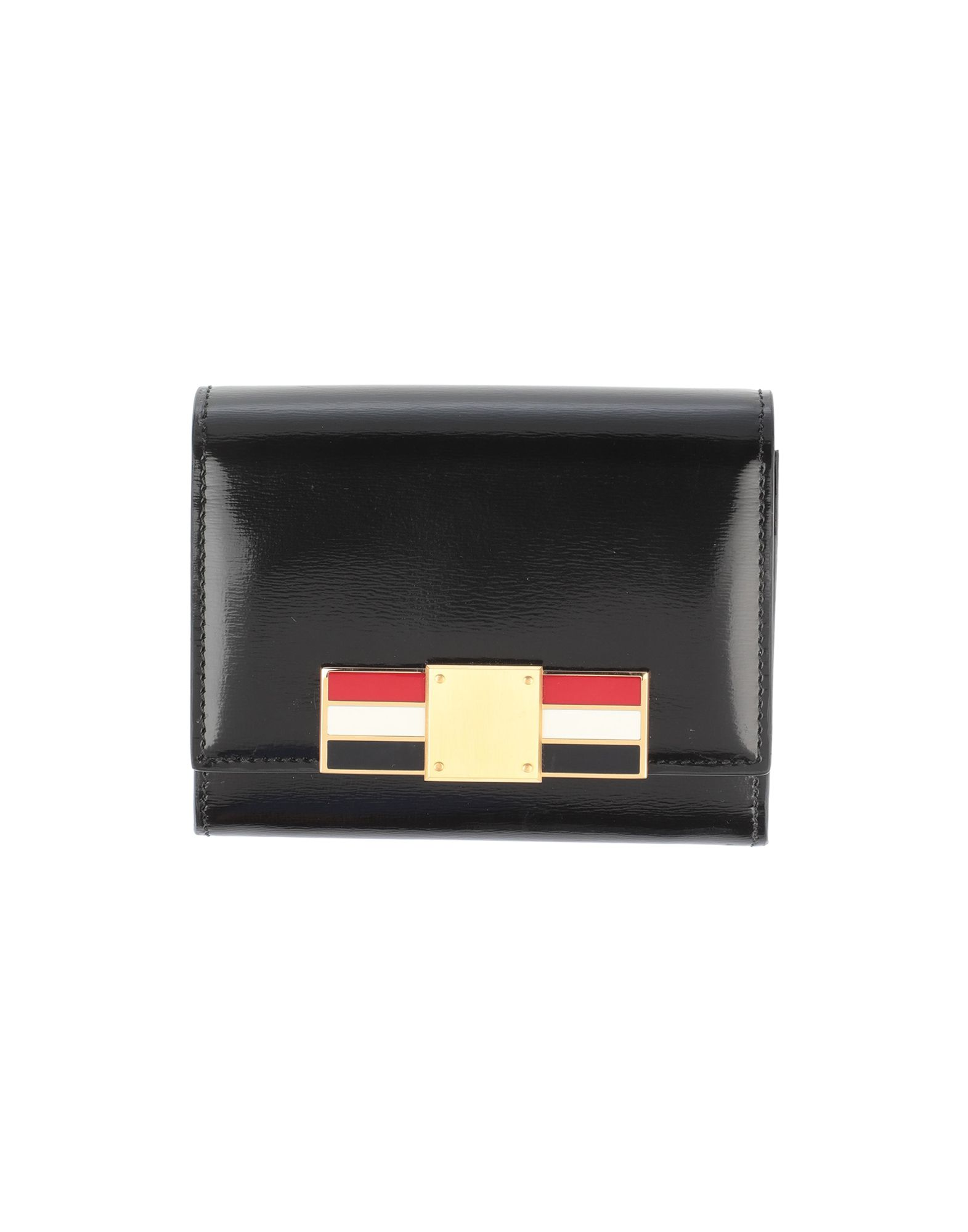 THOM BROWNE Wallets. leather, metal applications, logo, solid color, snap buttons fastening, contains non-textile parts of animal origin. Soft Leather