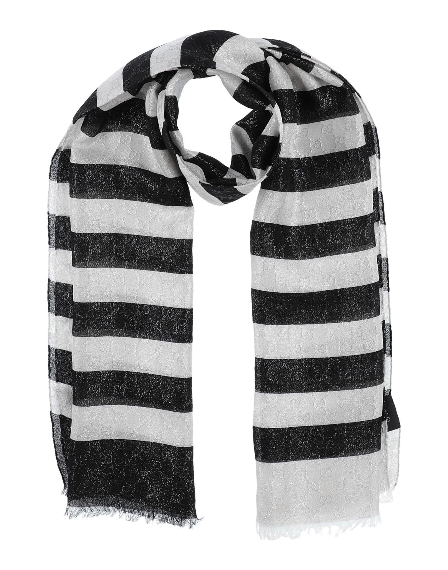 GUCCI Stoles. crepe, lamé, fringed, logo, stripes. 78% Silk, 22% Polyamide