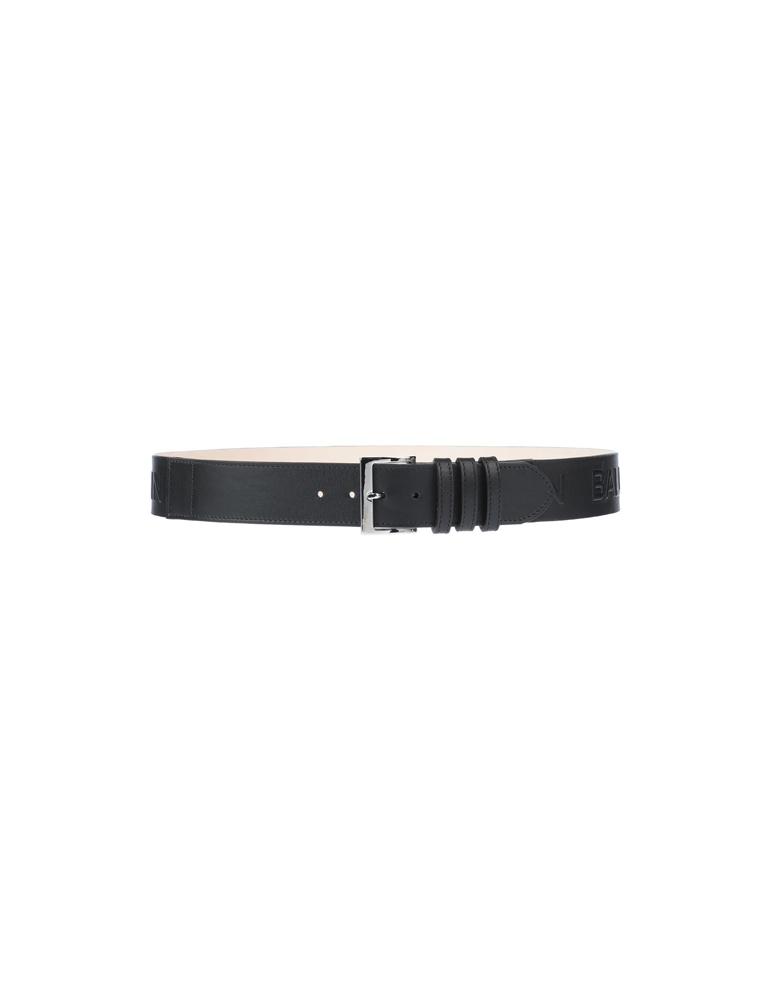 BALMAIN Belts. leather, logo, solid color, buckle fastening, leather lining, standard, contains non-textile parts of animal origin. Soft Leather