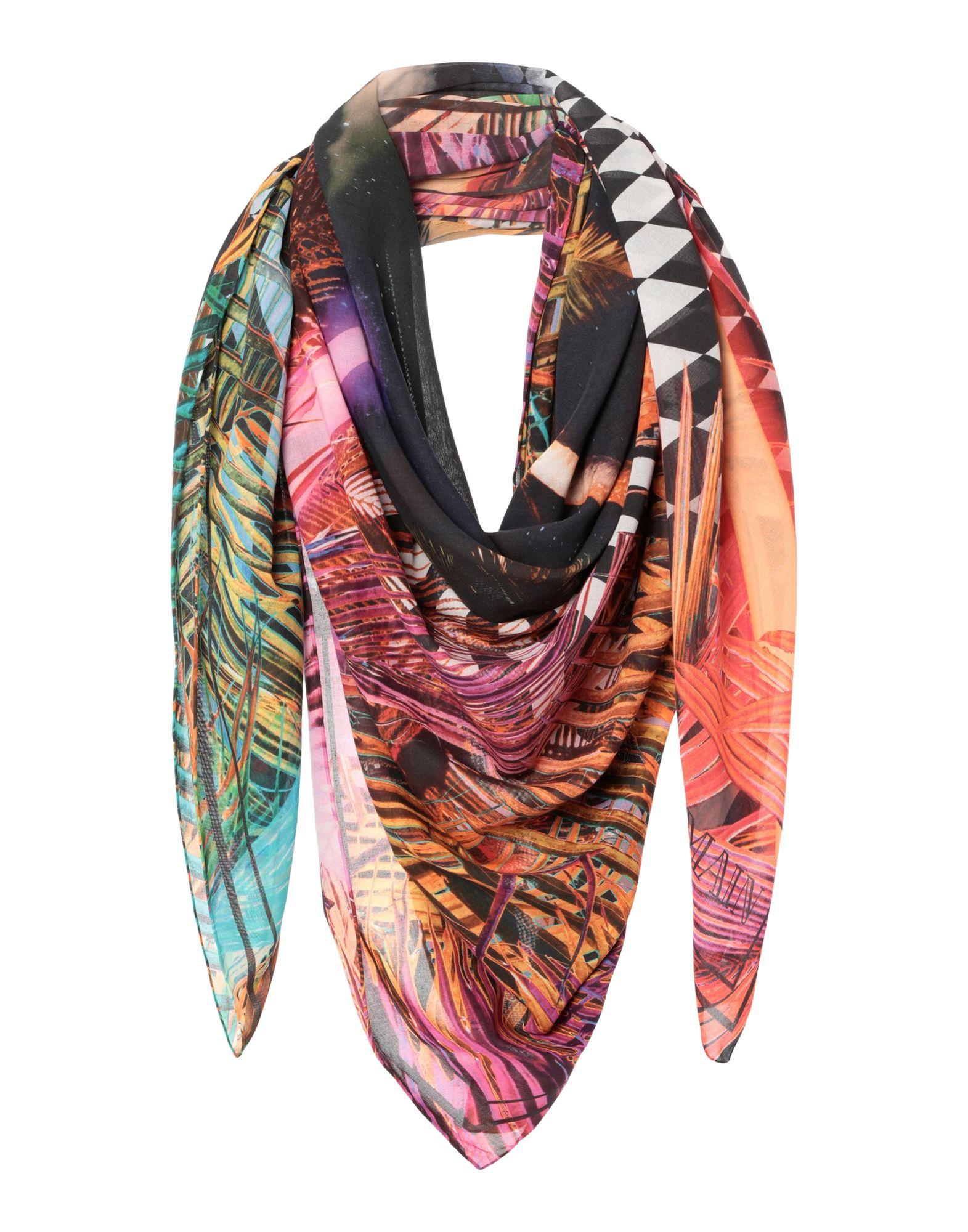 BALMAIN Square scarves. plain weave, logo, multicolor pattern. 100% Cotton