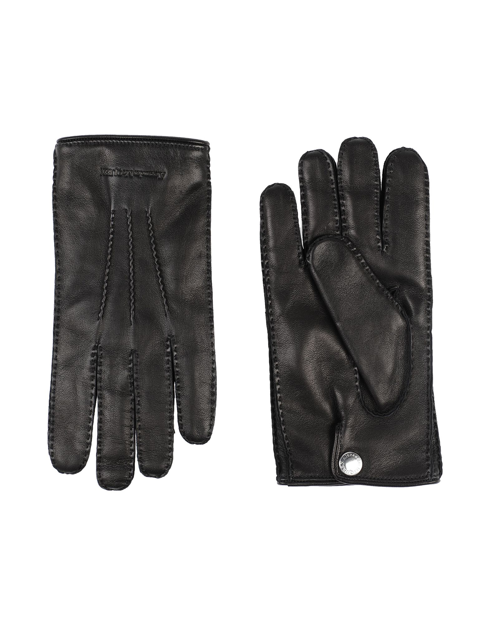 ALEXANDER MCQUEEN Gloves. leather, logo, solid color, fully lined, contains non-textile parts of animal origin. 100% Soft Leather