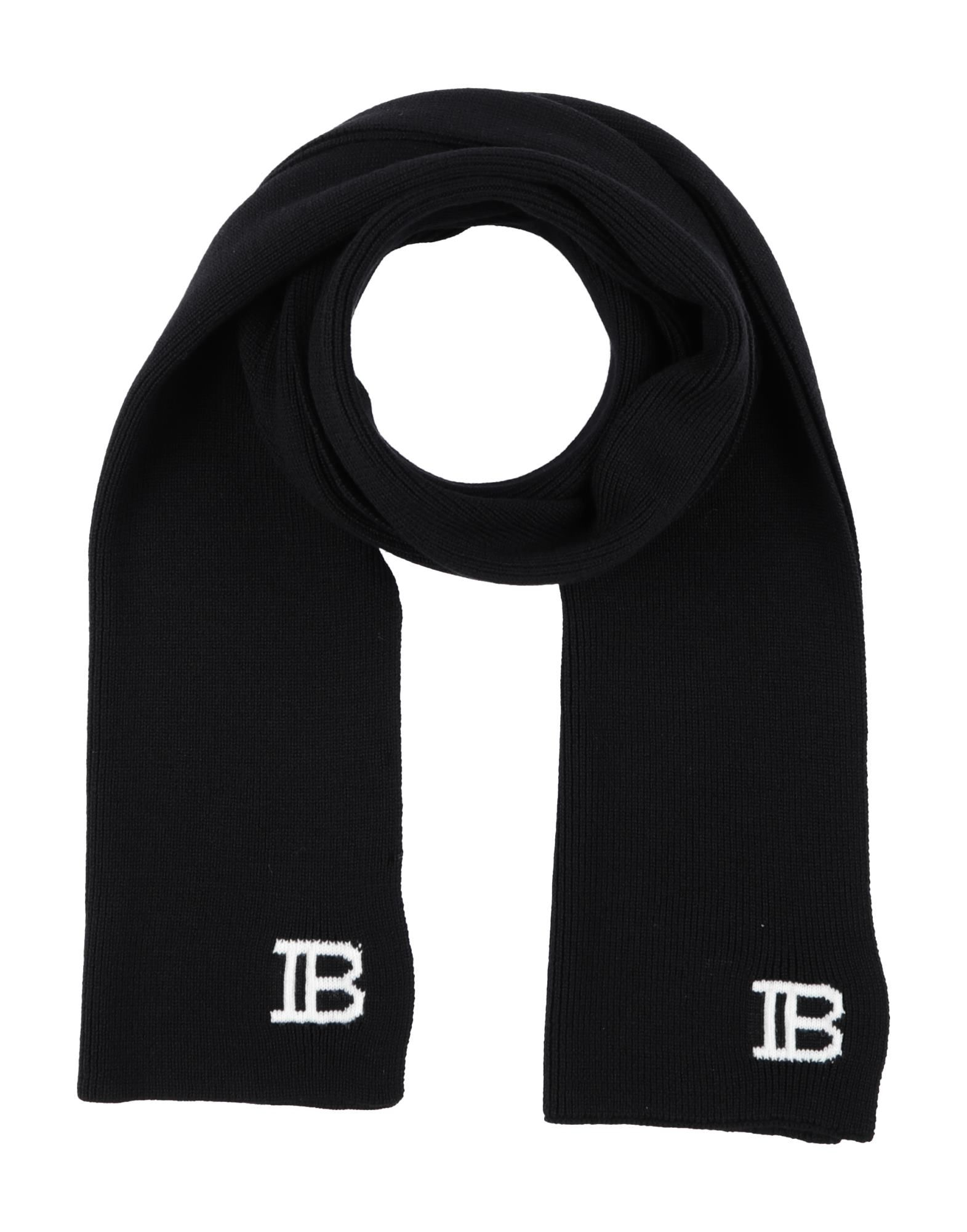 BALMAIN Scarves. knitted, logo, solid color. 100% Wool