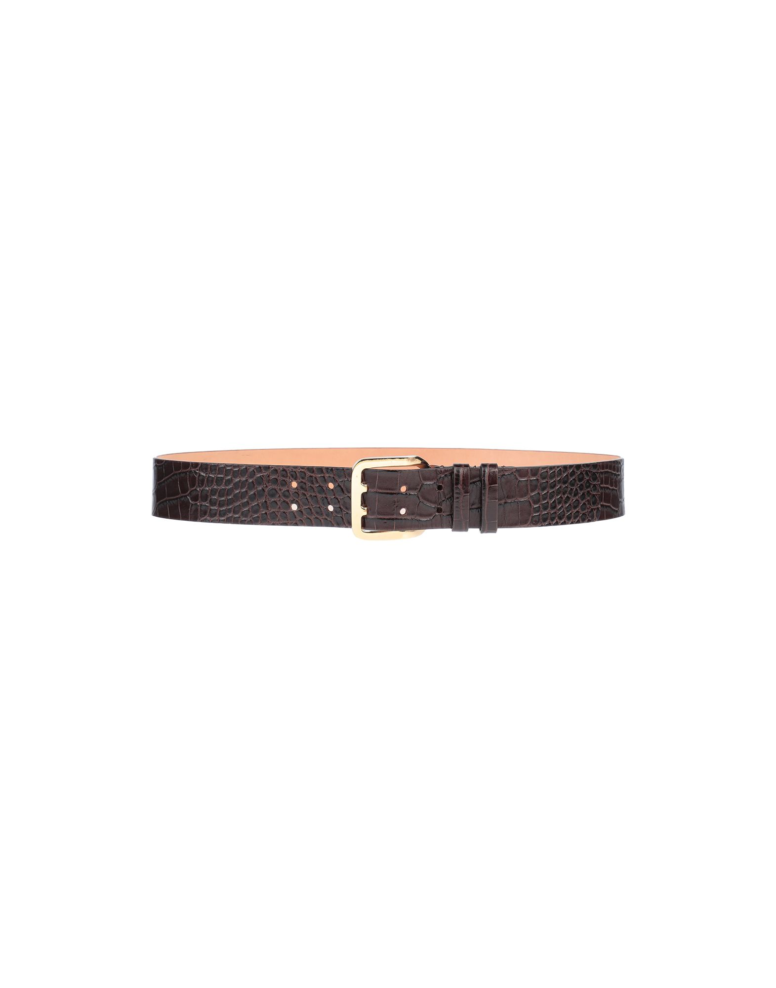 DSQUARED2 Belts. leather, crocodile print, no appliqués, solid color, standard, buckle fastening, contains non-textile parts of animal origin. Soft Leather