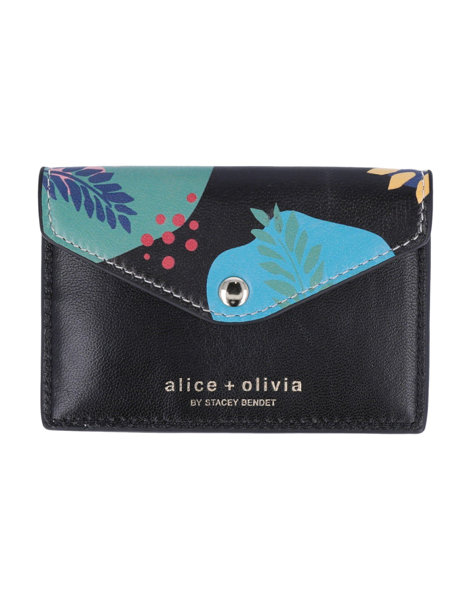ALICE + OLIVIA Coin purses. leather, logo, floral design, snap buttons fastening, leather lining, contains non-textile parts of animal origin. Soft Leather