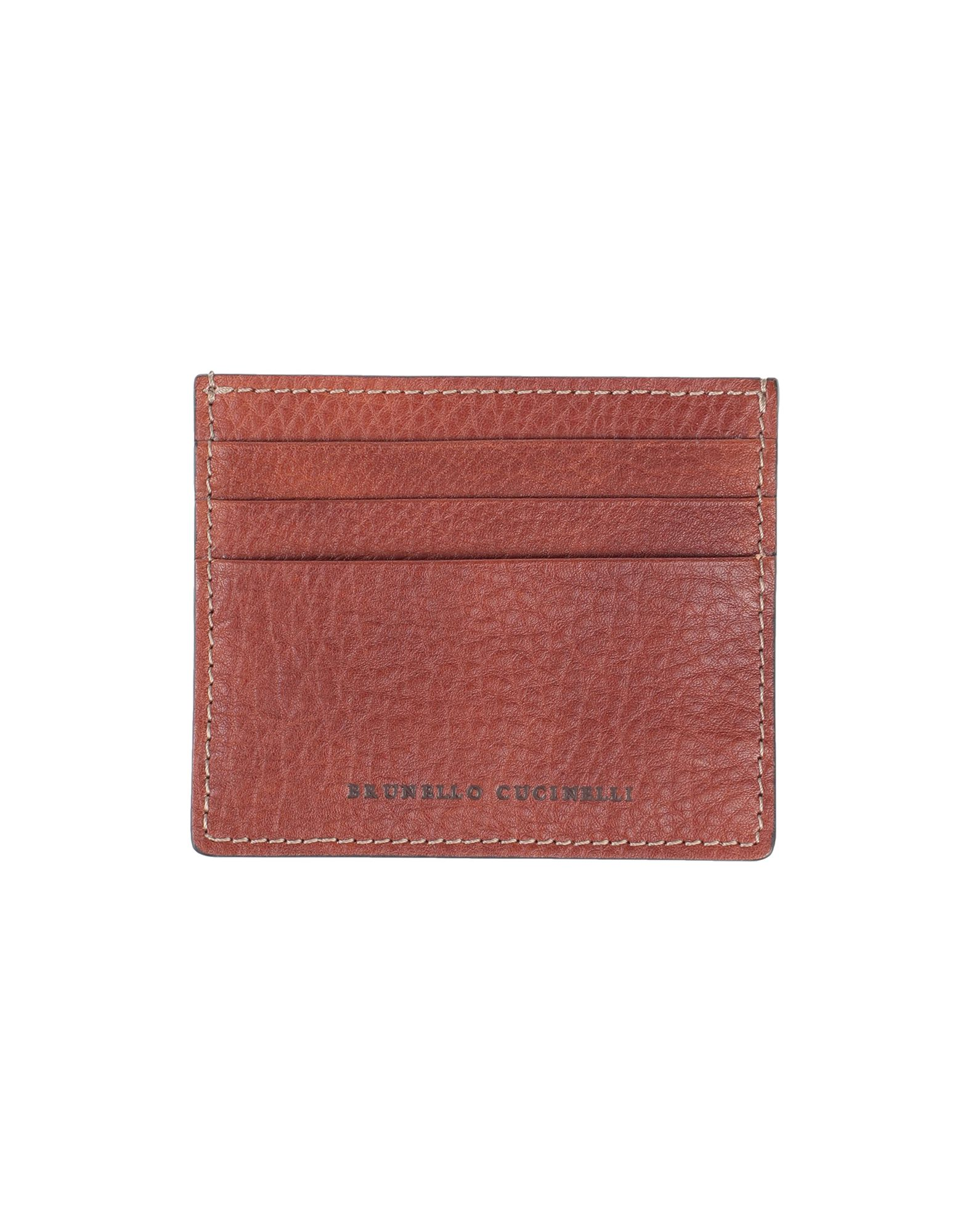 BRUNELLO CUCINELLI Document holders. textured leather, logo, solid color, fully lined, contains non-textile parts of animal origin. 100% Soft Leather