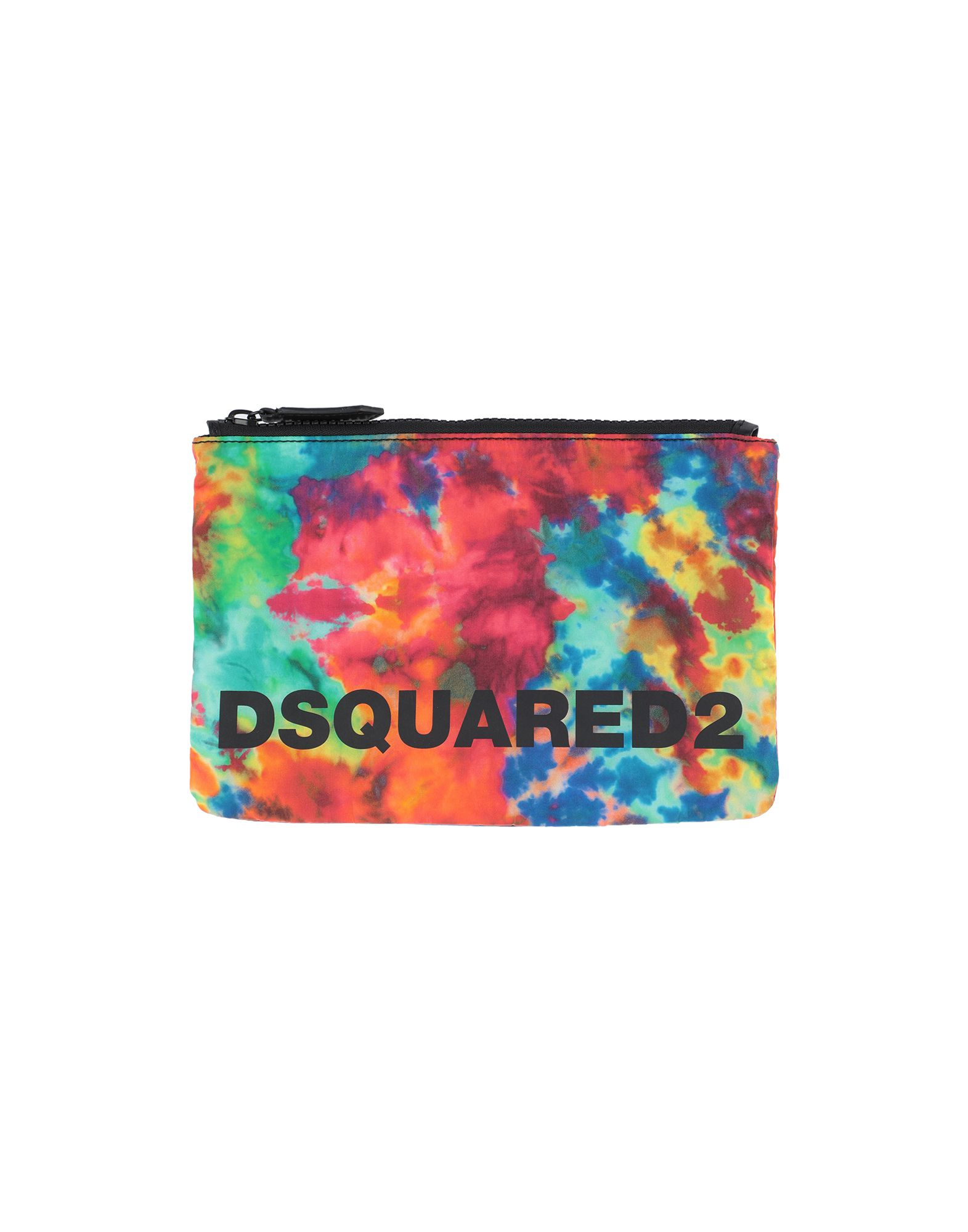 DSQUARED2 Pouches. techno fabric, logo, multicolor pattern, zipper closure, fully lined. Nylon