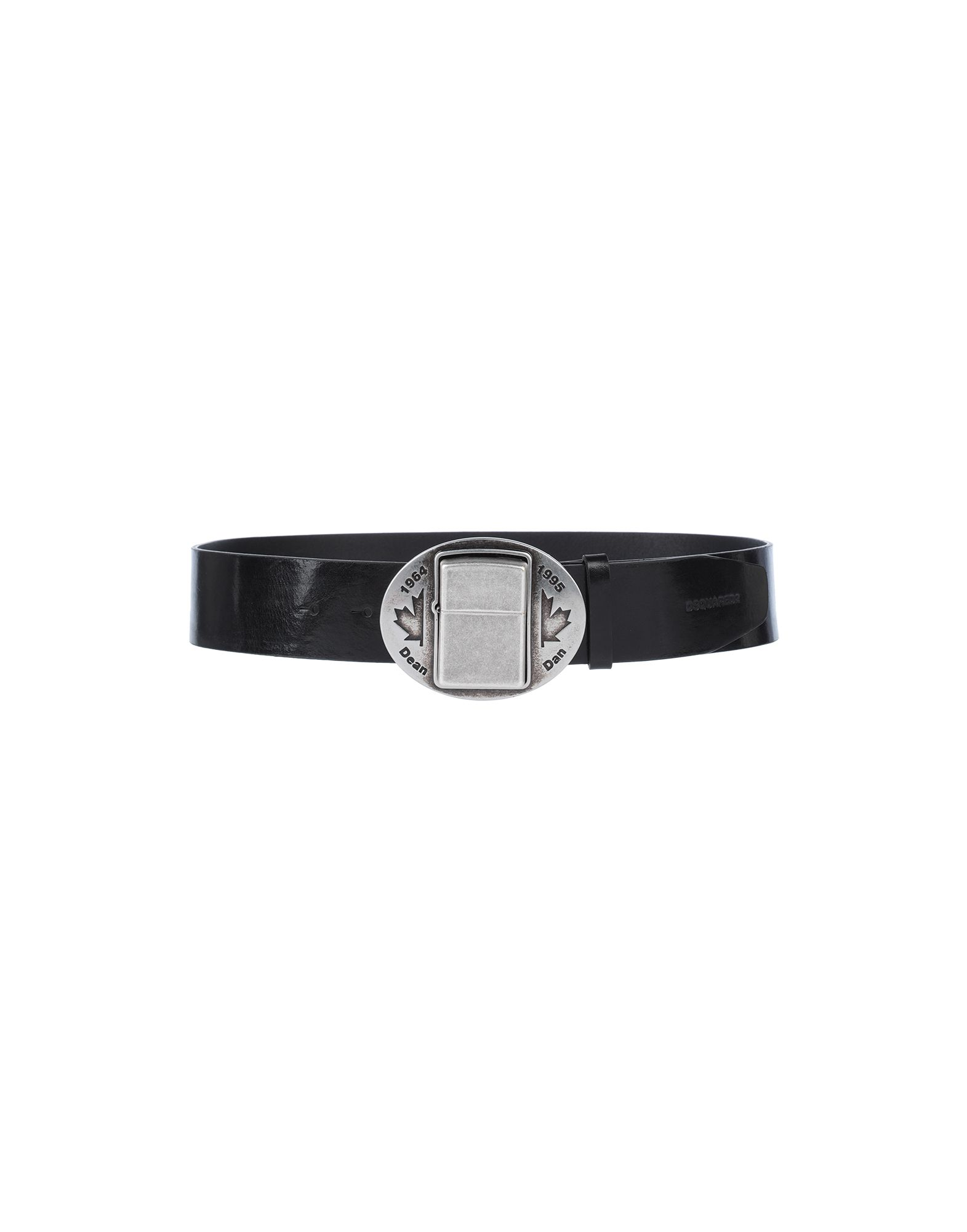 DSQUARED2 Belts. leather, logo, solid color, buckle fastening, 2-piece set, contains non-textile parts of animal origin. 100% Soft Leather