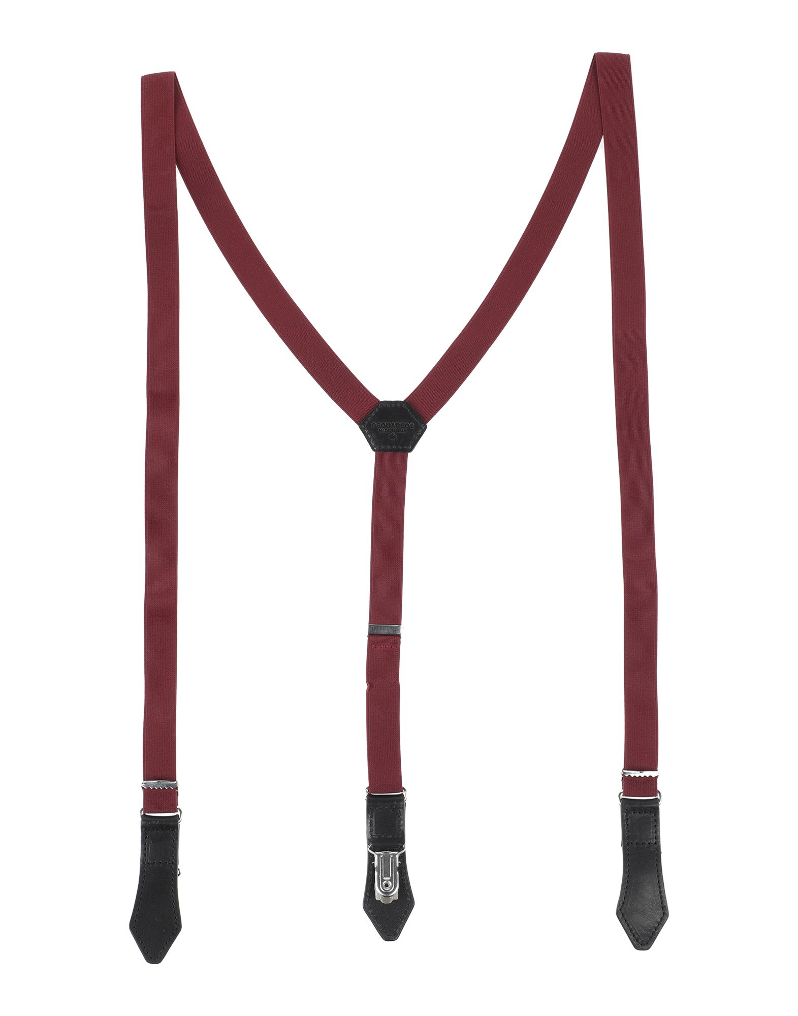 DSQUARED2 Suspenders. logo, solid color. Textile fibers