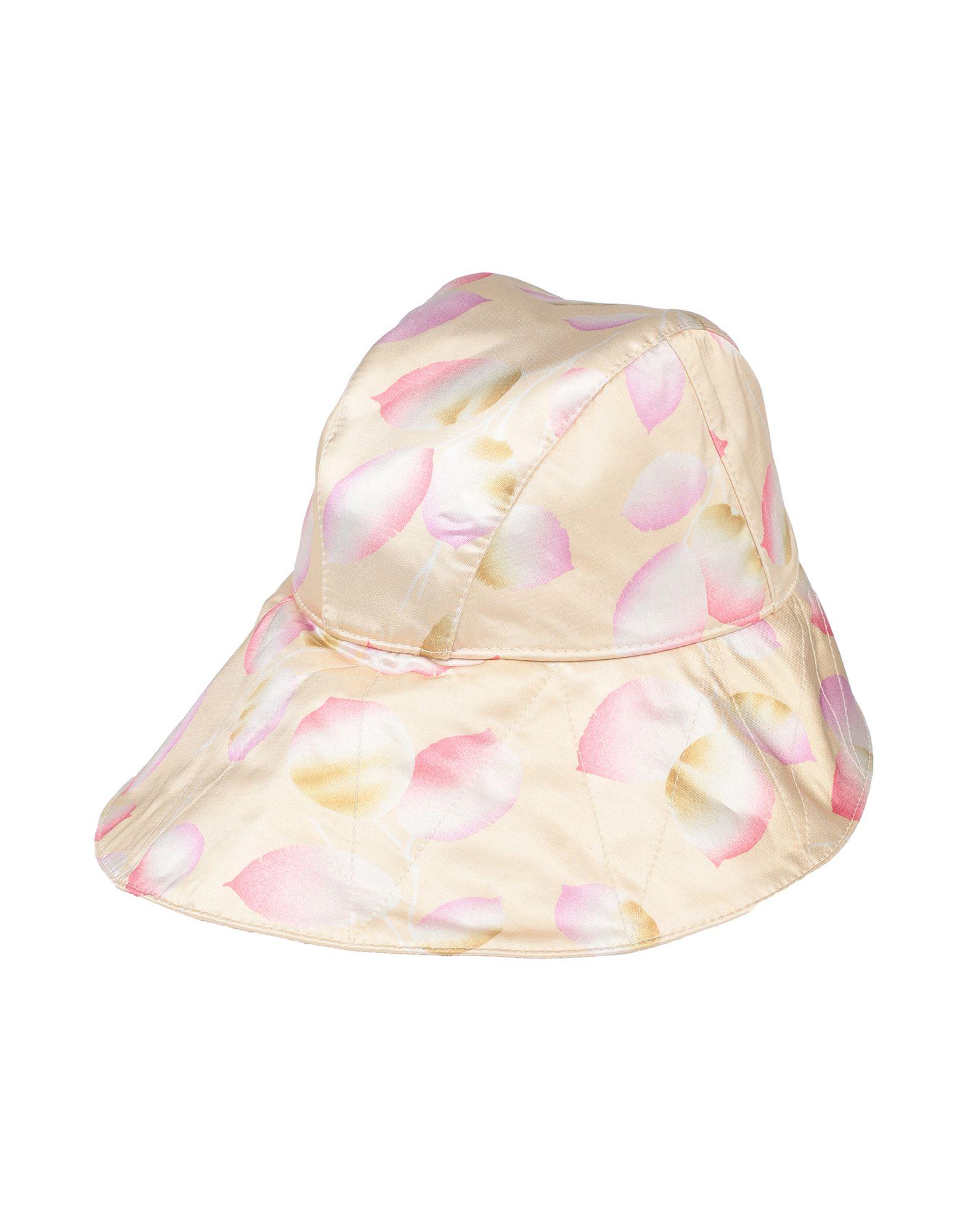 JIL SANDER Hats. satin, laces, floral design, medium brim. 100% Viscose