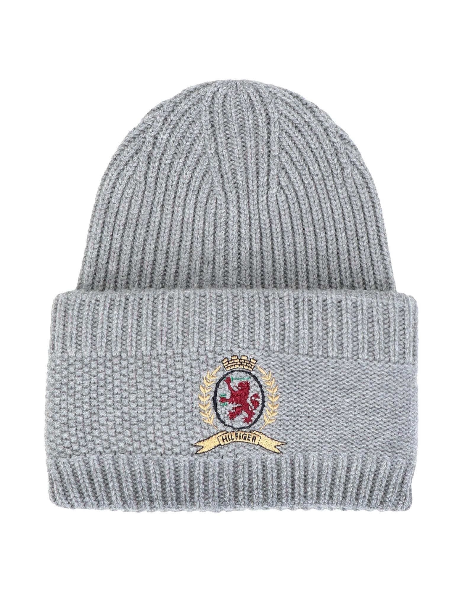 《セール開催中》HILFIGER COLLECTION レディース 帽子 グレー one size ウール 90% / カシミヤ 10% HCW CREST CLASSIC KNITTED HAT