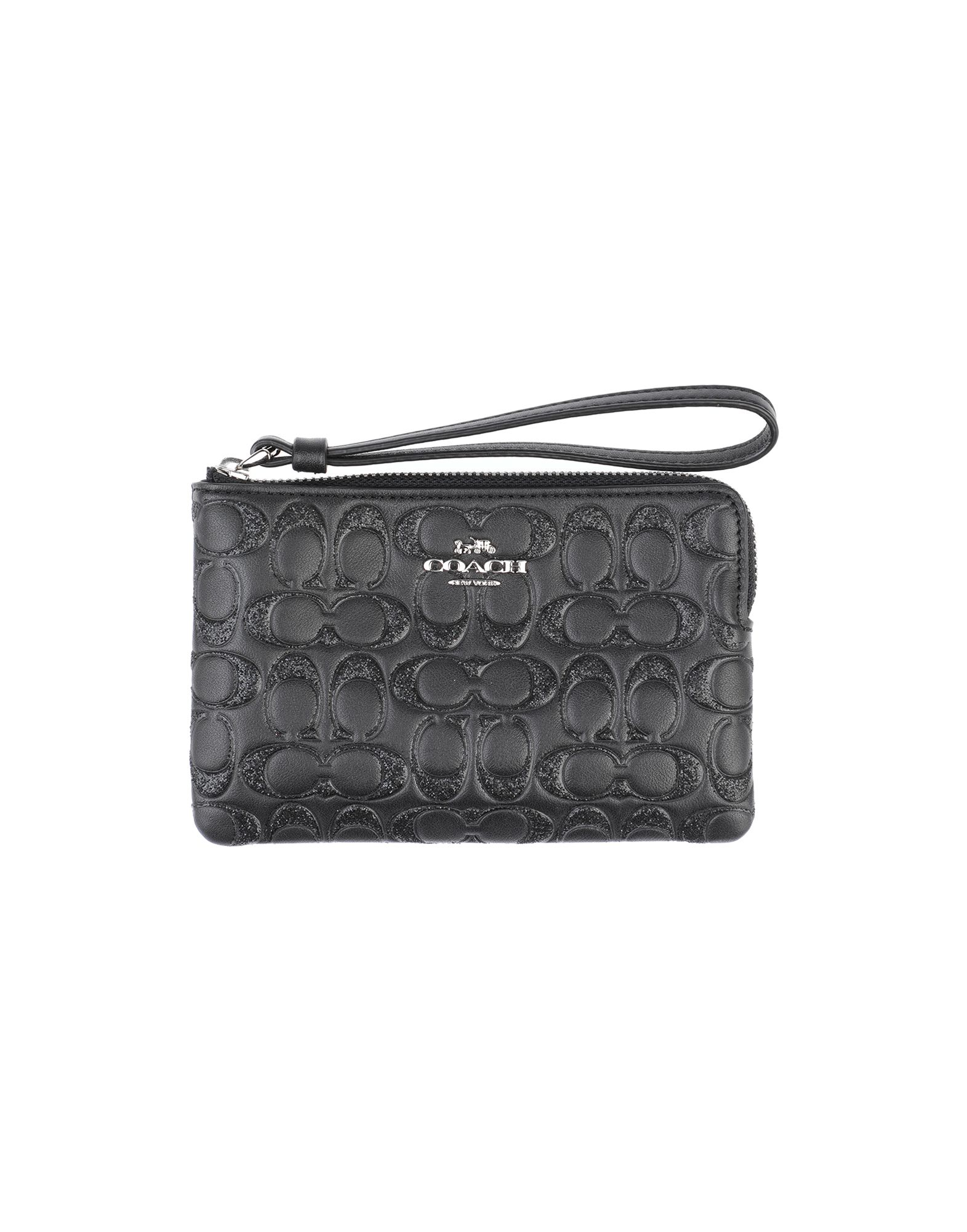 COACH Pouches. leather, logo, glitter, basic solid color, zipper closure, internal pocket, contains non-textile parts of animal origin. Soft Leather