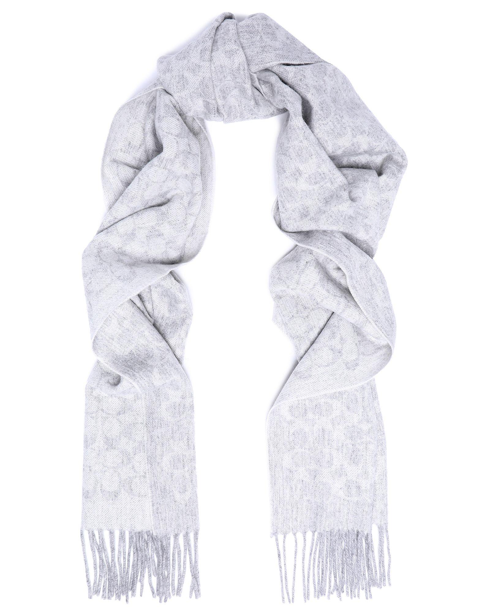 COACH Scarves. flannel, fringed, logo design. 95% Wool, 5% Cashmere