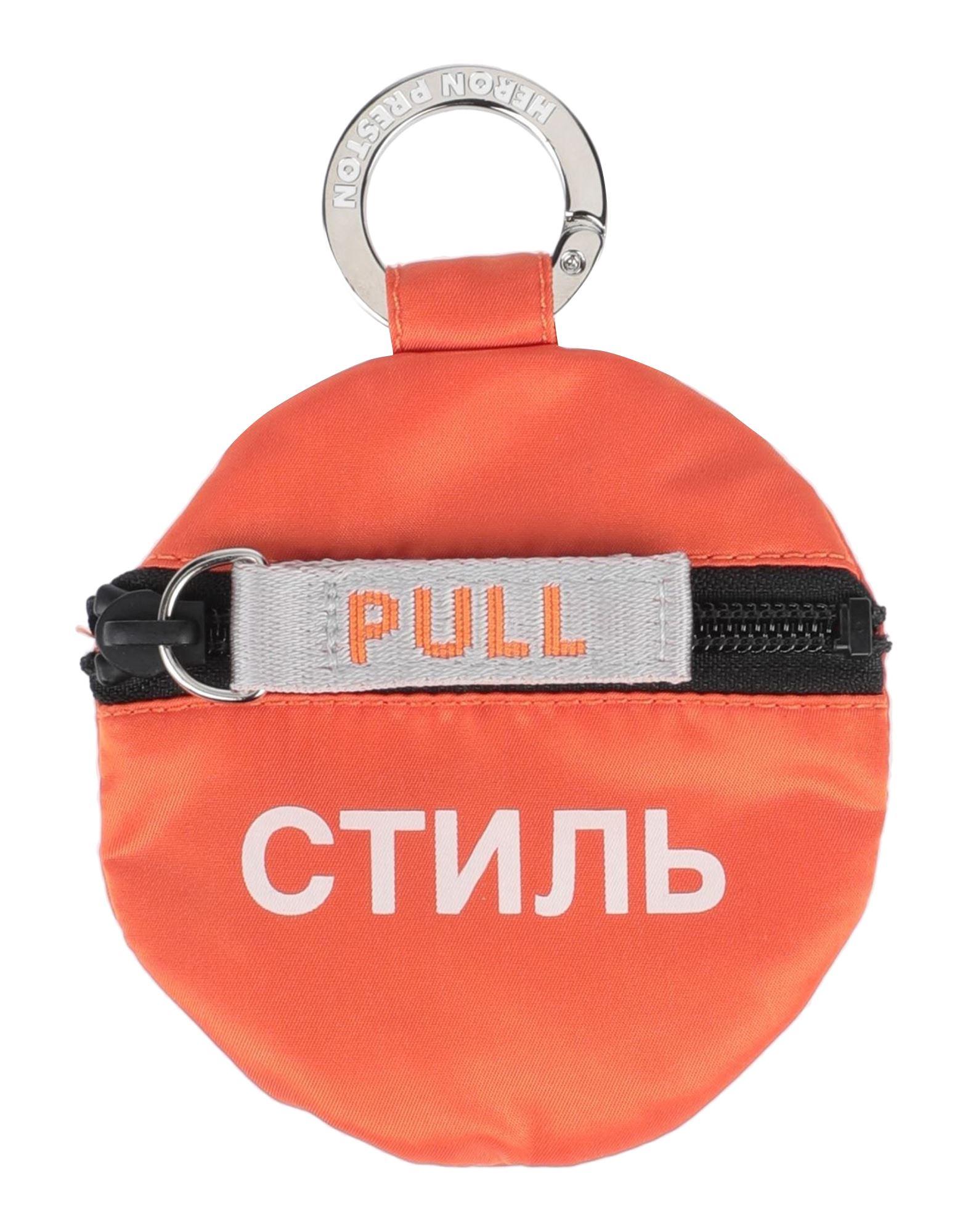 HERON PRESTON Coin purses. techno fabric, metal applications, logo, solid color, zipper closure. 54% Polyester, 46% Polyamide