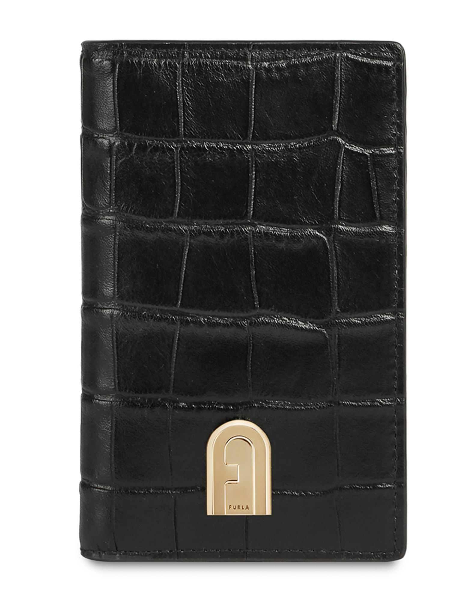 FURLA Document holders. leather, crocodile print, logo, basic solid color, snap buttons fastening, internal card slots, external side zip pocket, contains non-textile parts of animal origin. 100% Soft Leather