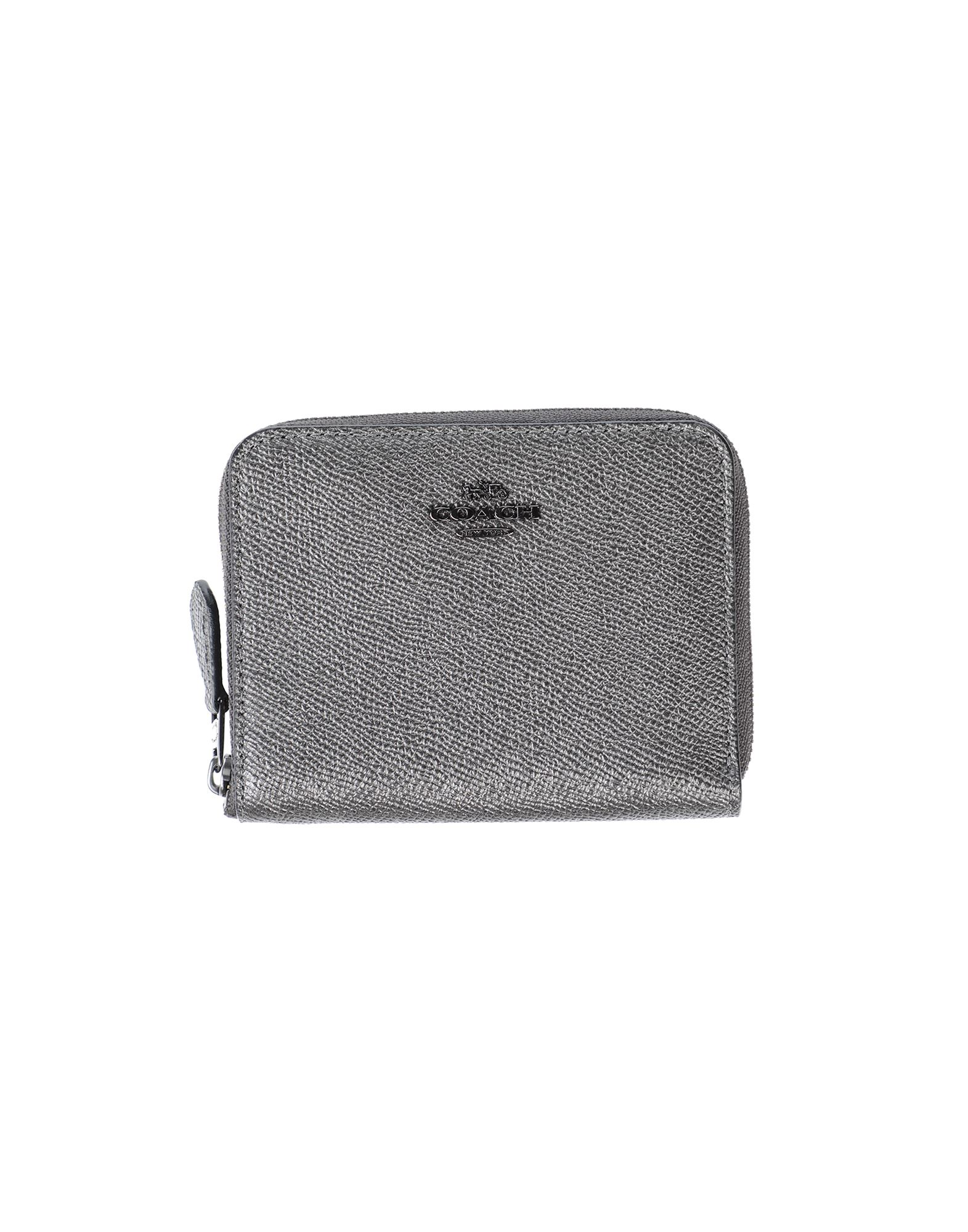 COACH Wallets. printed leather, logo, laminated effect, solid color, zipper closure, leather lining, internal card slots, internal zip pocket, contains non-textile parts of animal origin. Soft Leather