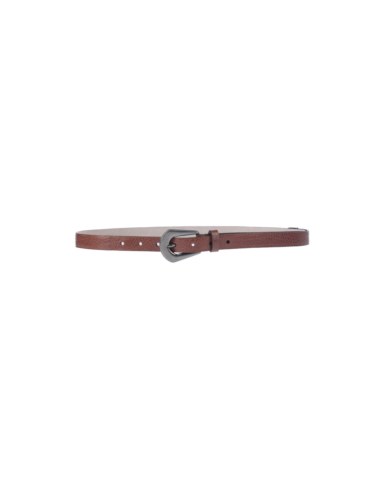 BRUNELLO CUCINELLI Belts. leather, textured leather, no appliqués, solid color, narrow, buckle fastening, contains non-textile parts of animal origin. Soft Leather