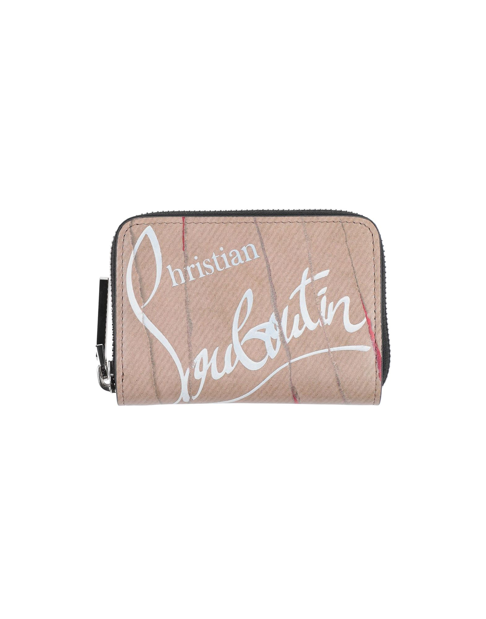 CHRISTIAN LOUBOUTIN Coin purses. leather, logo, multicolor pattern, zipper closure, leather lining, contains non-textile parts of animal origin. Soft Leather