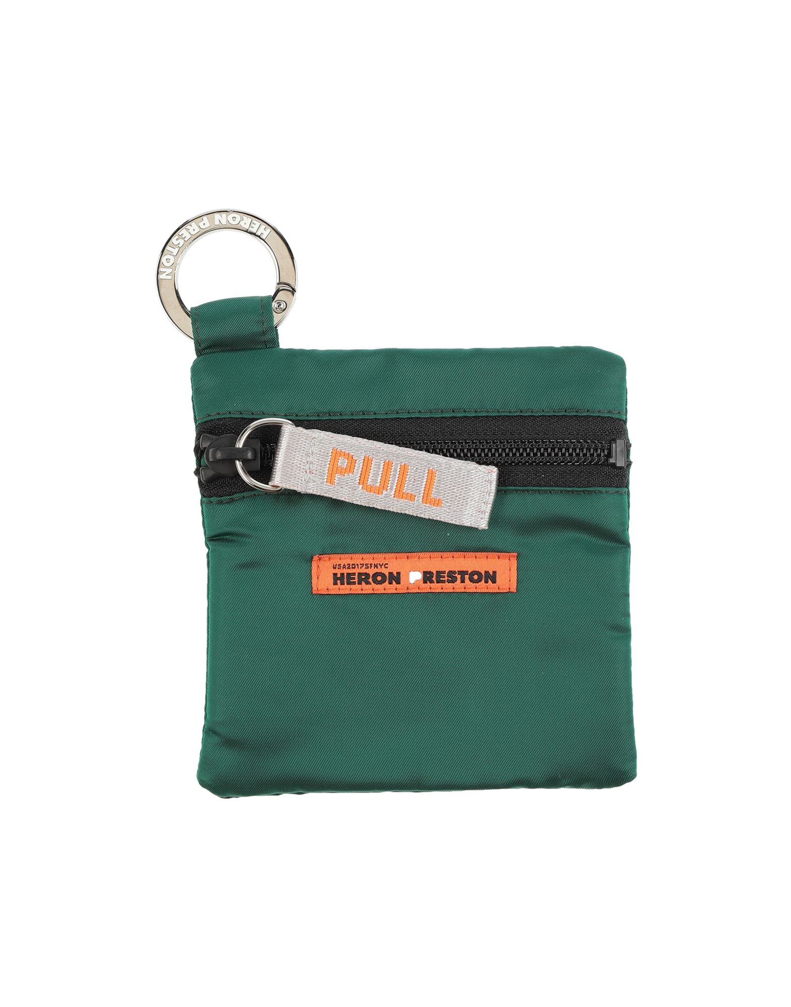 HERON PRESTON Key rings. techno fabric, contrasting applications, logo, solid color, zipper closure, fully lined. 54% Polyester, 46% Polyamide