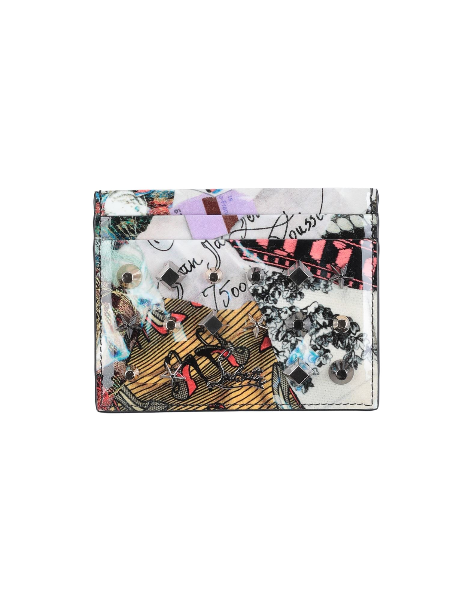 CHRISTIAN LOUBOUTIN Document holders. varnished effect, metal applications, logo, multicolor pattern, fully lined. Soft Leather