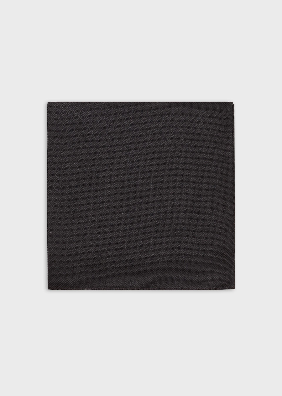 EMPORIO ARMANI Pure silk pocket square with jacquard micro pattern