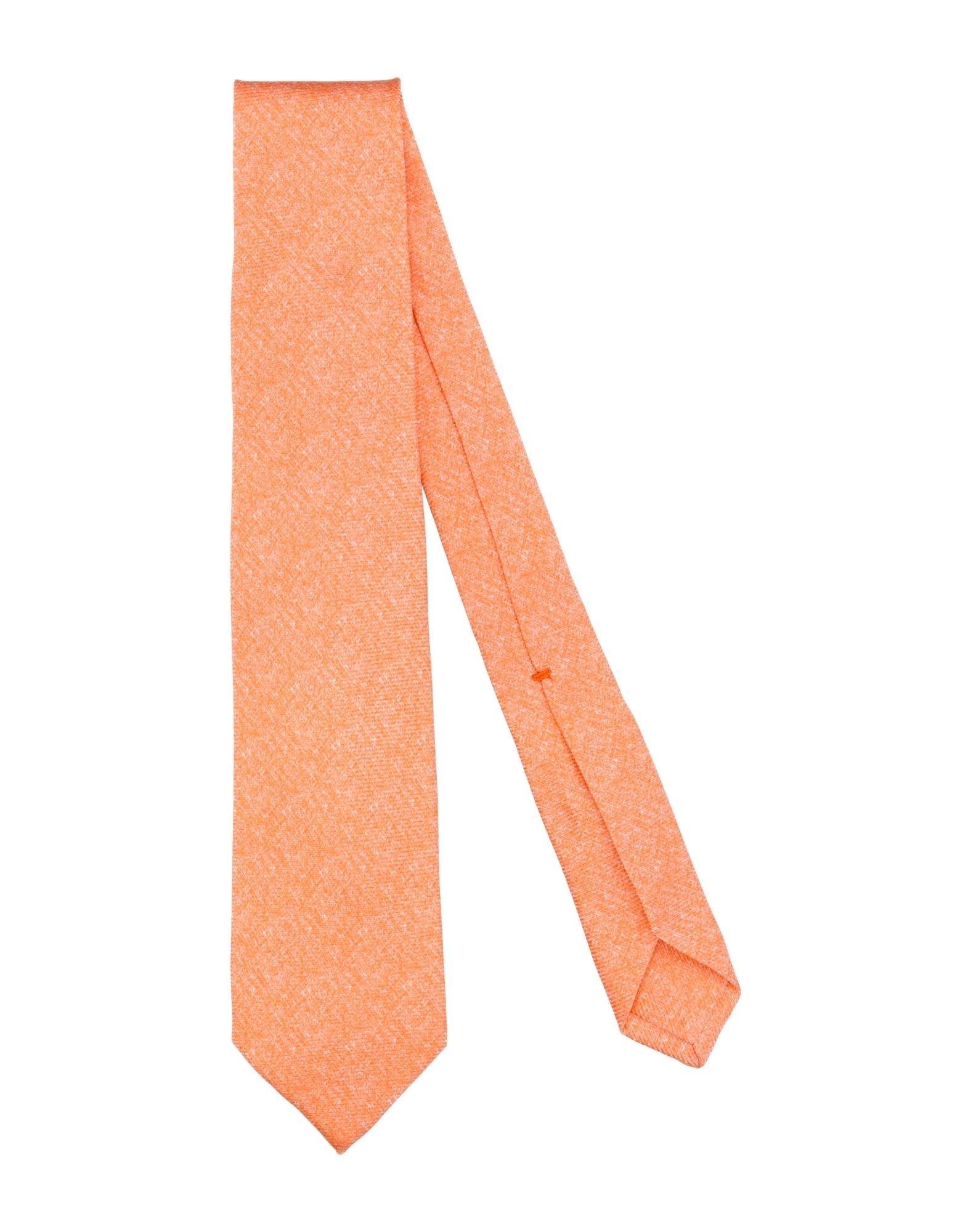 《セール開催中》BARBA Napoli メンズ ネクタイ あんず色 シルク 100%