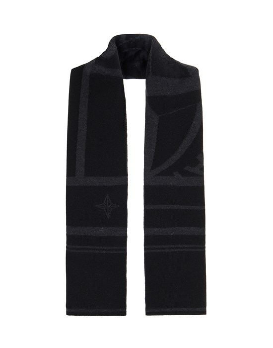 Scarf Man N16C7 WOOL NYLON MIXED YARNS WITH GRAPHICS Front STONE ISLAND