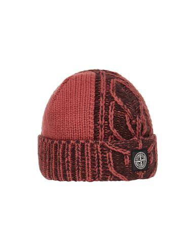 STONE ISLAND N18D8 LAMBSWOOL WITH ARAN MOTIF Hat Man Brick red EUR 139