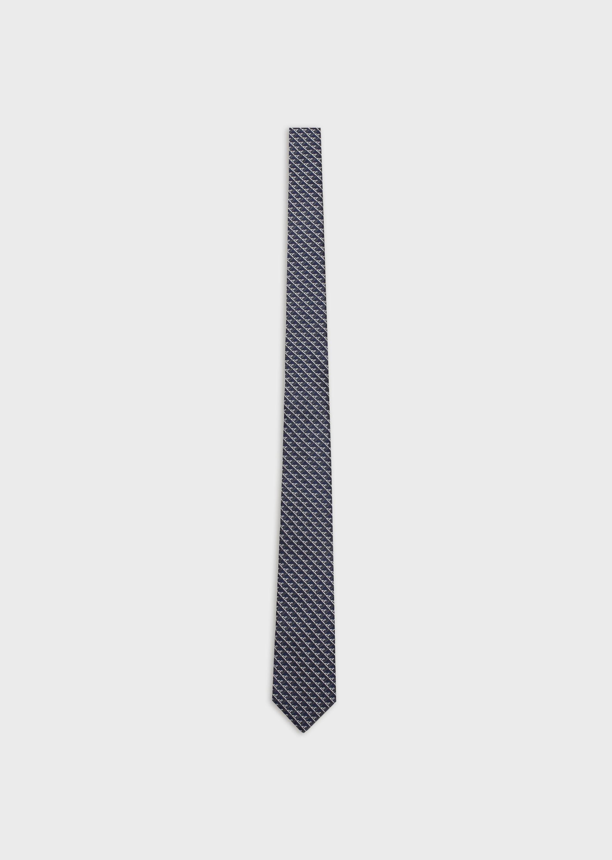 EMPORIO ARMANI Silk tie with op-art eagles