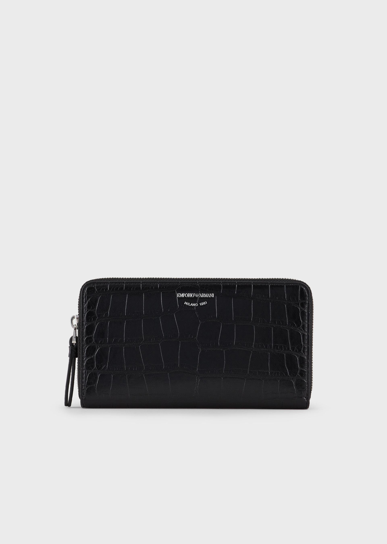 EMPORIO ARMANI Emporio Armani Milano mock croc wallet with wraparound zip