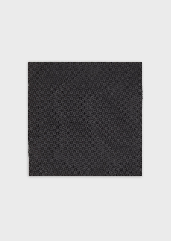 EMPORIO ARMANI Pure silk pocket square with check jacquard eagle motif