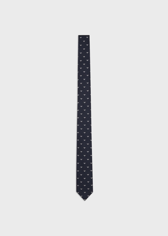 EMPORIO ARMANI Pure silk tie with all-over jacquard eagle