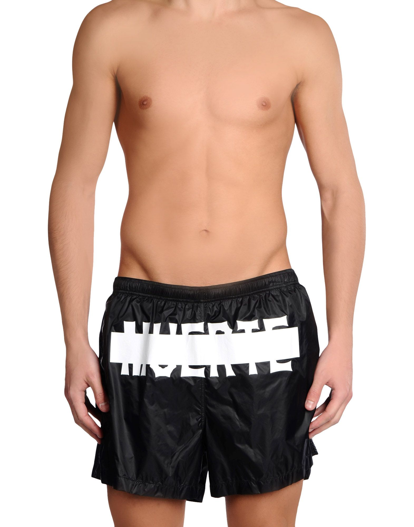 MARCELO BURLON Swim trunks. techno fabric, print, solid color, drawstring closure, internal slip, no pockets. 100% Polyamide