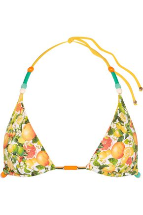 STELLA McCARTNEY Ruffle-trimmed printed triangle bikini top
