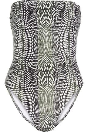 NORMA KAMALI Bishop printed bandeau swimsuit