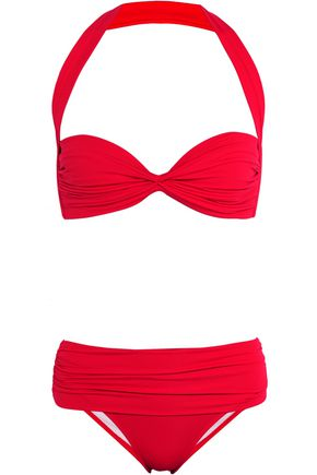 IRIS AND INK Ruched halterneck bikini
