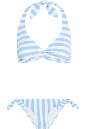 IRIS AND INK Striped halterneck bikini