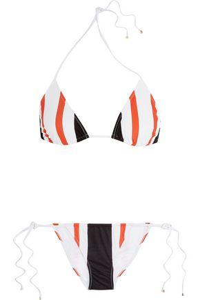 DOLCE & GABBANA BEACHWEAR Striped triangle bikini