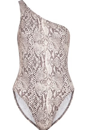 NORMA KAMALI One-shoulder snake-print swimsuit