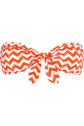 CALVIN KLEIN Printed knotted bandeau bikini top