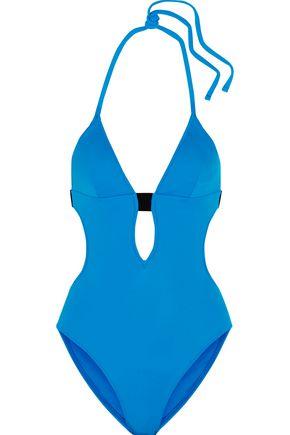 CALVIN KLEIN Cutout halterneck swimsuit