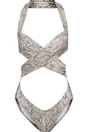 NORMA KAMALI Cutout snake-print halterneck swimsuit