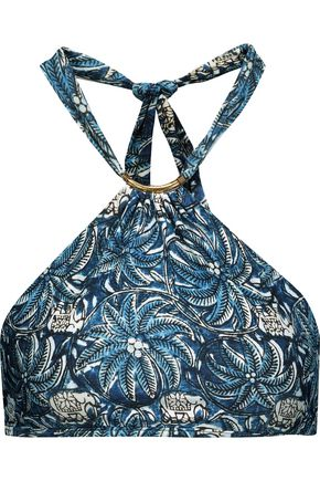 VIX PAULAHERMANNY Jakarta Thai embellished printed halterneck bikini top