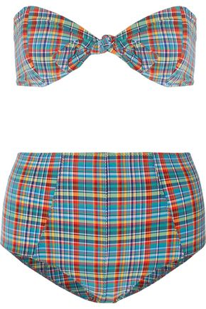 LISA MARIE FERNANDEZ Poppy knotted checked bandeau bikini