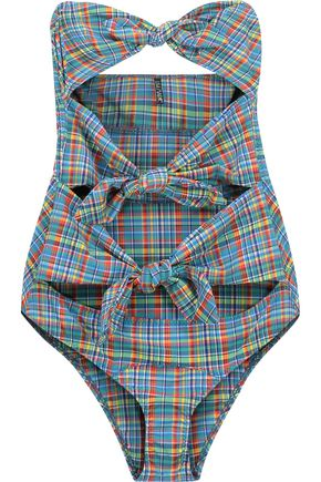 LISA MARIE FERNANDEZ Triple Poppy knotted checked swimsuit