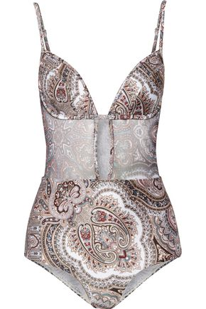 ZIMMERMANN Epoque Tulip cutout mesh-paneled printed swimsuit