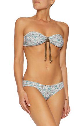 EBERJEY Isla Verde printed bandeau bikini top