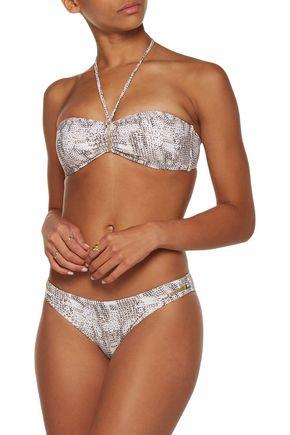 HEIDI KLUM SWIM Sun Dappled Decadence low-rise embellished striped bikini briefs