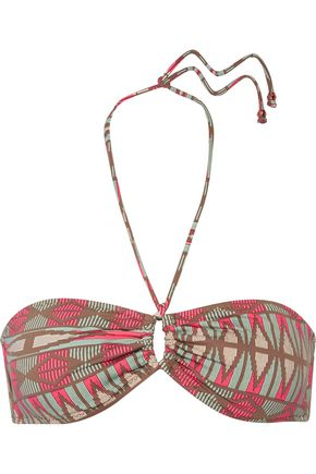 EBERJEY Geo Weave Cora printed halterneck bikini top